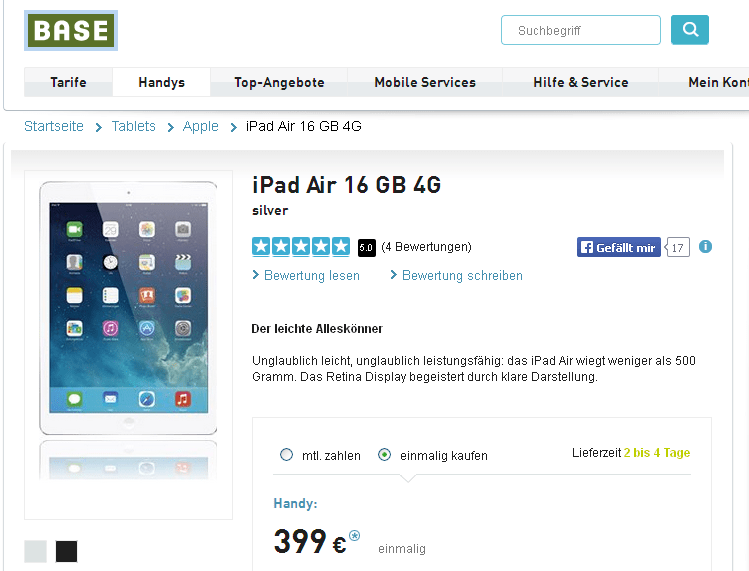 das ipad air 16 gb 4g im angebot f r 399. Black Bedroom Furniture Sets. Home Design Ideas