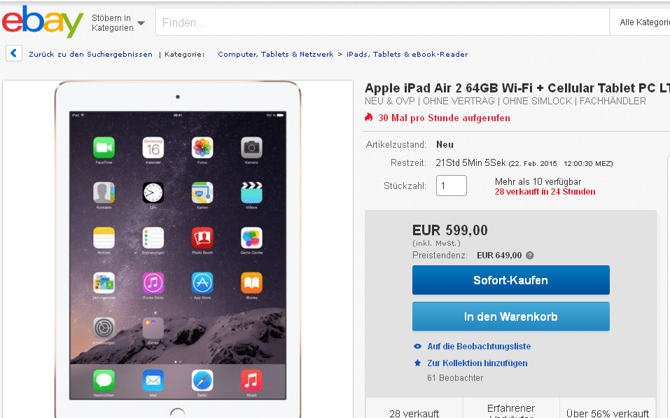 euer deal apple ipad air 2 mit 64 gb im angebot f r 599. Black Bedroom Furniture Sets. Home Design Ideas