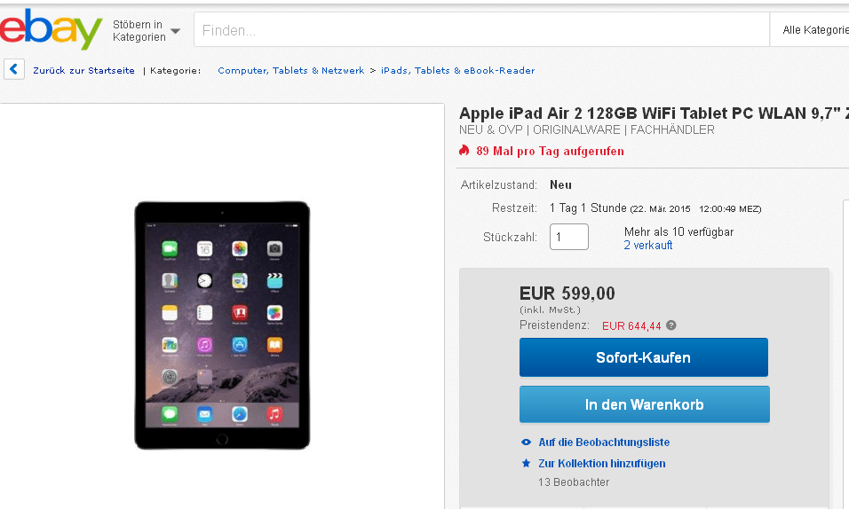 euer deal apple ipad air 2 128gb tablet im angebot f r. Black Bedroom Furniture Sets. Home Design Ideas