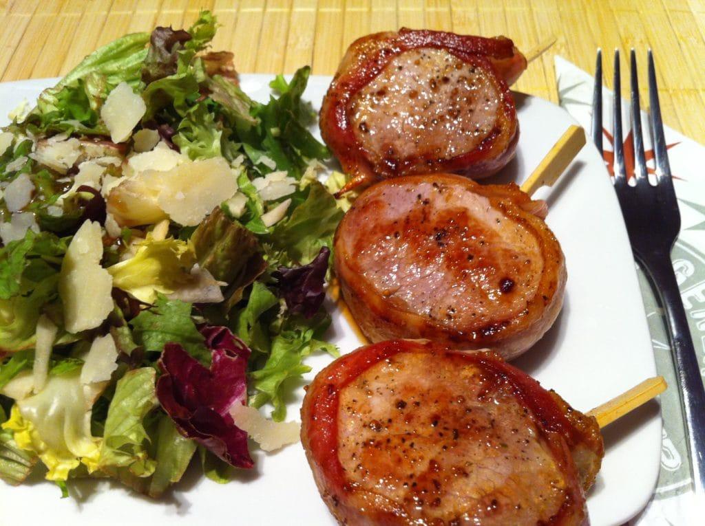 Das low carb Schweinefilet mit dem Caesar Salad