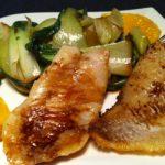 Der asiatischen-low-carb-mini-wok-choi-mit-rotbarschfilet