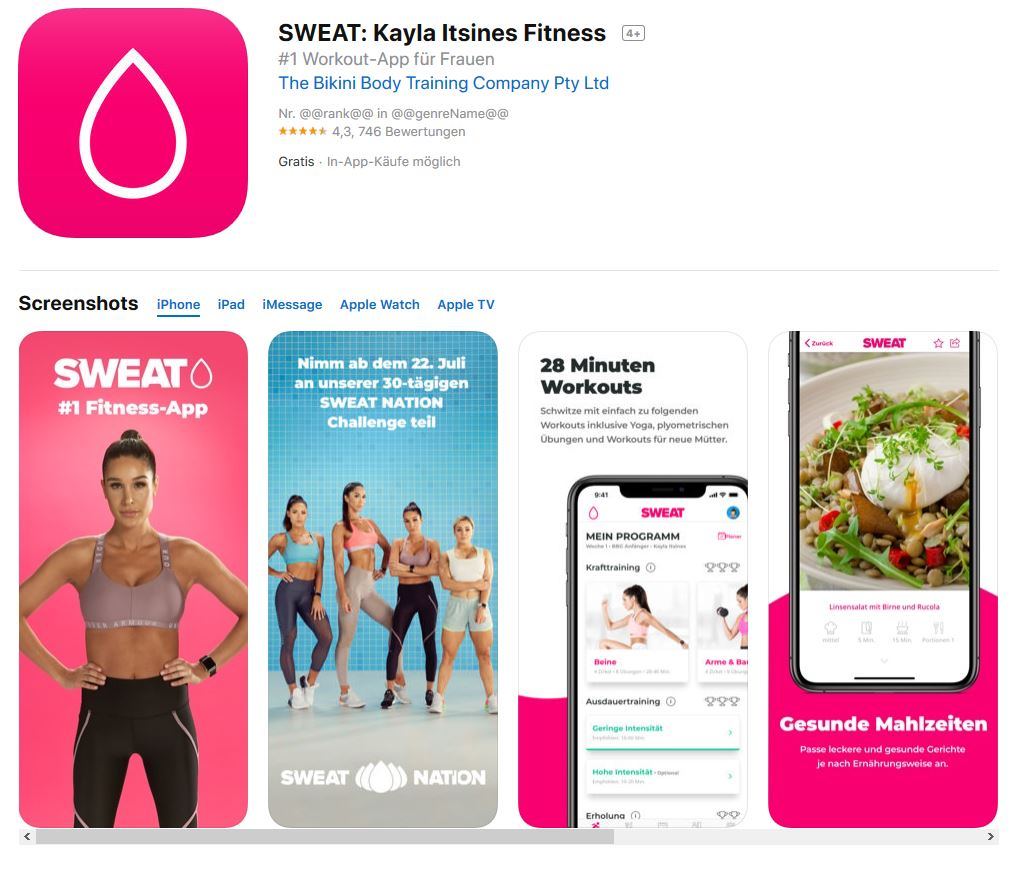 Sweat. Kayla Itsines Fitness