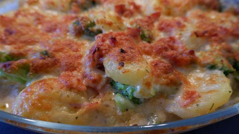 Kartoffel-Brokkoli-Gratin Frischkäse-Topping